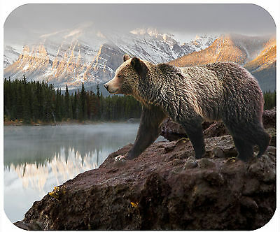 Mouse Pad Custom Personalized Thick Mousepad-Bear At Mountain Lake-Any Text