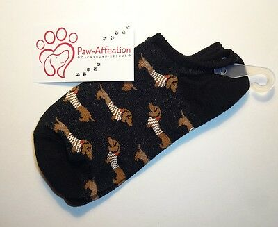 Fun Woman's Black Ankle Socks with Dachshund Dog design, One Size Fits All