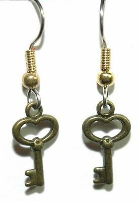 MINI BRONZE or ANTIQUE BRASS KEY DANGLE EARRINGS (D271)