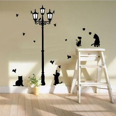 cats and lamp post wall sticker decal children/kids bedroom