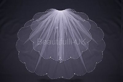2 Tier Elbow Length Wedding Bridal Veil with Comb, Shiny Tube Edge