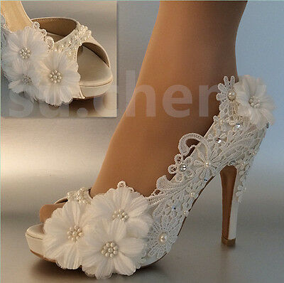 """3"""" 4"""" Lace white light ivory open toe sequin daisy Wedding shoes Bride size 5-11"""