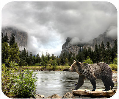 Mouse Pad Personalized Custom Thick Mousepad-Bear At A Yosemite River