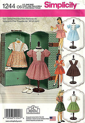"""*new* Simplicity Craft Pattern 1244 Vintage 18"""" Doll Clothes"""