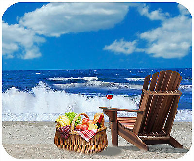 Mouse Pad Personalized Custom Thick Mousepad-Picnic Basket At Beach-Your Text