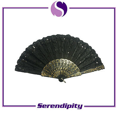 Black Spanish Style Dance Party Wedding Lace Silk Folding Hand Held Flower Fan