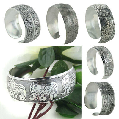 Lady Vintage Carved Tibetan Tibet Silver Totem Bangle Cuff Bracelet Jewelry Gift