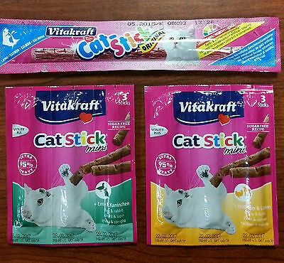 Vitakraft Cat Stick Salmon / Cat Stick mini - Duck and Rabbit or Turkey and Lamb