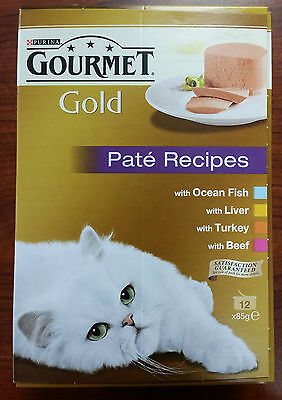 Purina Gourmet Gold - Pate Recipes - 12 x 85g - FISH / LIVER / TURKEY / BEEF
