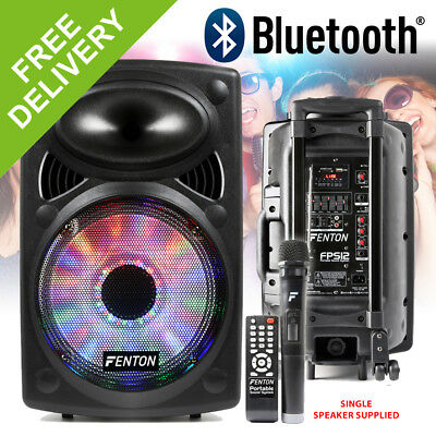 "Active Powered House Party Speaker System 12"" Bluetooth with Lights Wireless Mic"