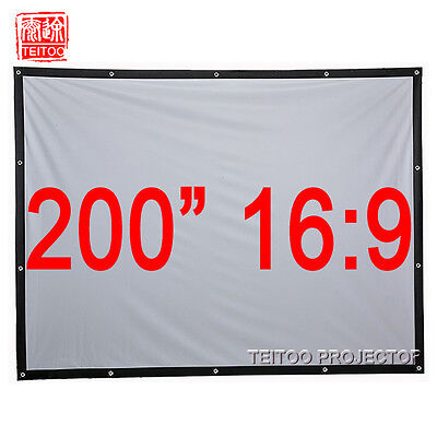 """200"""" 16:9 Large Size Canvas Fabric Portable Fast Fold Outsides Projector Screens"""