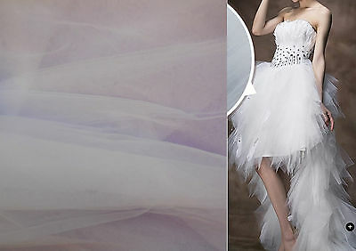 White Bridal Soft Tulle Veil Fabric Wedding Dress DIY 150cm wide.Sold per 0.5M