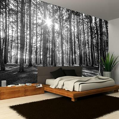 New Black & White Woodland Forest Tree Pattern Giant Photo Wallpaper Mural R223