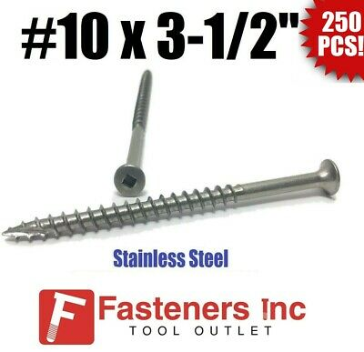 "Square Drive Type 17 100 Qty #10 x 3-1//2/"" Stainless Steel Fence /& Deck Screws"