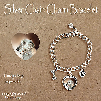 Irish Wolfhound Dog - Charm Bracelet Silver Chain & Heart