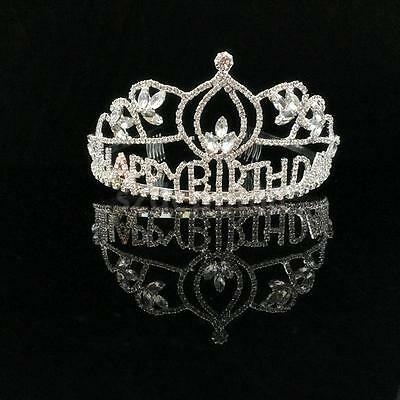 """Happy Birthday"" Sweet Princess Party Crown Rhinestone Crystal Silver Tiara"