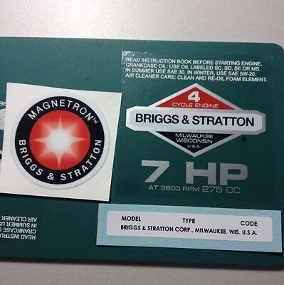 Briggs & Stratton 7-hp Sticker Decal Set 1981-1986 W/ Magnetron Homelite