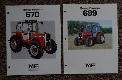 Lot of 2 - 1983 ? MASSEY FERGUSON Tractor Spec Sheet Brochures - Model 670 & 699