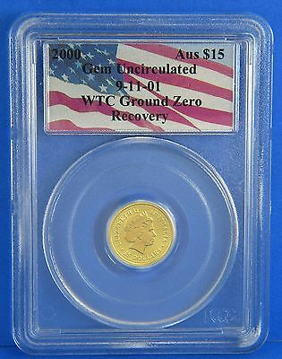 2000 WTC 911 Ground Zero Trade Center $15 Nugget 1/10Oz Gold Coin Certified PCGS