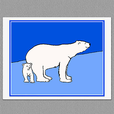 6 Polar Bear Mom and Cub Blank Art Note Greeting Cards
