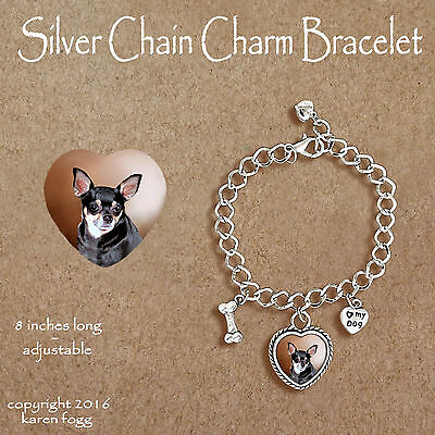 CHIHUAHUA DOG Smooth Tri Black and Tan - CHARM BRACELET SILVER CHAIN & HEART