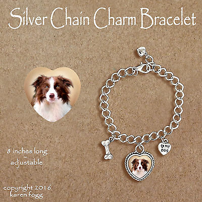 BORDER COLLIE DOG Red Brown -  CHARM BRACELET SILVER CHAIN & HEART