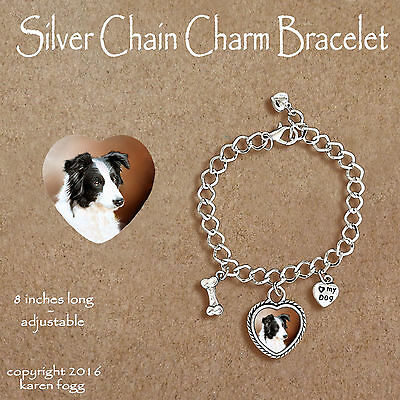 BORDER COLLIE DOG Black and White - CHARM BRACELET SILVER CHAIN & HEART
