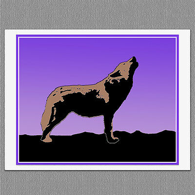 6 Howling Wolf Sunset Colorful Graphics Blank Art Note Greeting Cards