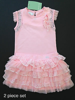 BNWT ITTY LONDON -RRP £76.00 Girls Pink Top & Skirt Age 5 & 7 years
