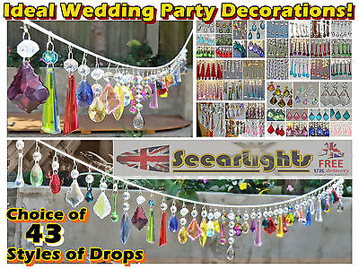 Glass Crystals Ornaments Droplets Chandelier Wedding Wishing Tree Prisms Beads