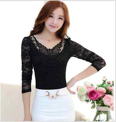 Lace Top Blouse Long Sleeve Butterfly Mesh Sheer Work Evening Elegant Classy