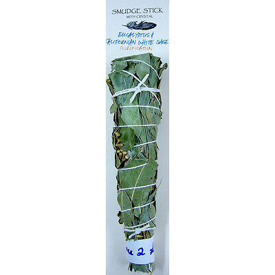 Smudge Stick EUCALYPTUS & WHITE SAGE Incense Spiritual House Cleansing Sage Smud