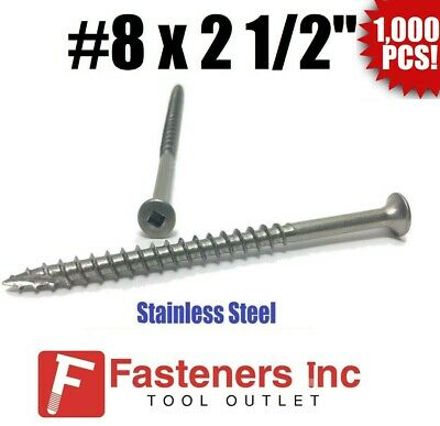 """(Qty 1000) #8 x 2-1/2"""" Stainless Steel Deck Screws Square Drive Wood Type 17"""