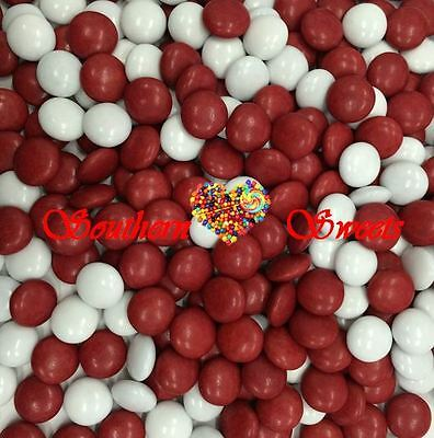 Red & White Chocolate Drops 1Kg Bulk Lollies Chocs Candy Beanies Smarties