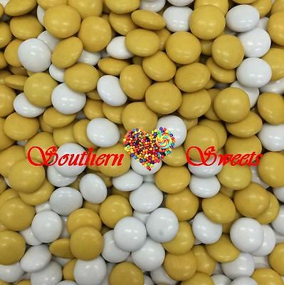 Yellow & White Chocolate Drops 1Kg Bulk Lollies Chocs Candy Smarties Beanies