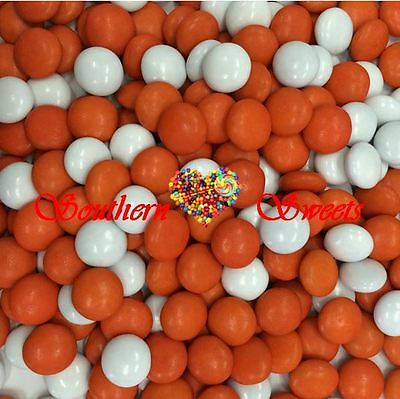 Orange & White Chocolate Drops 1Kg Bulk Lollies Chocs Candy Smarties Beanies
