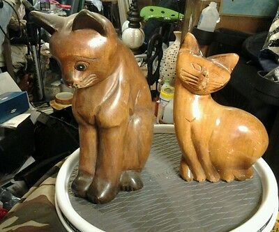 Midcentury modern cat lot of carved and hand painted wood