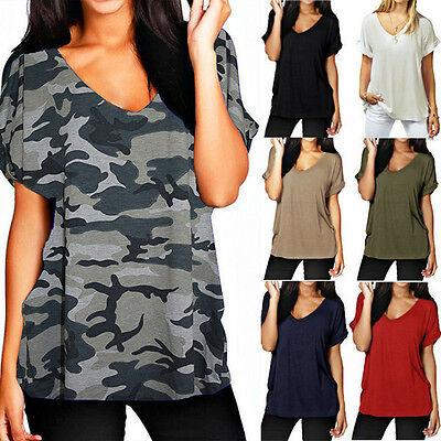 Plus Size S-5XL Womens Summer V Neck Loose T Shirt Casual Baggy Blouse Tee Tops