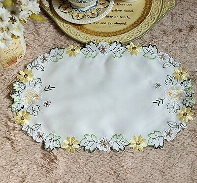Beautiful Rose Daisy Embroidery White Oval Shape Table Topper Placemat CL
