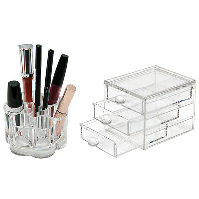 Acrylic Cosmetic Makeup Organiser Holder  Jewellery Box 3 Drawer Storage Clear