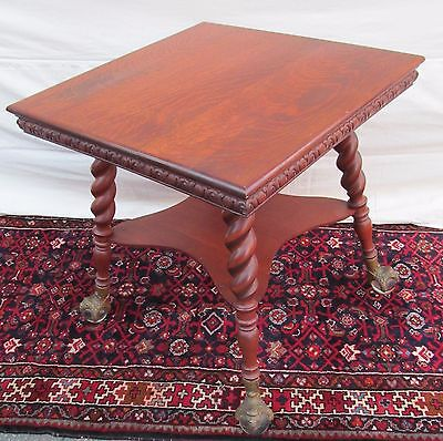 19Th C Antique Victorian Tiger Oak Parlor Table With Glass Ball Feet