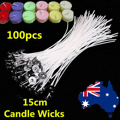 100pcs 15cm Candle Wick Pre Waxed Cotton Core with Sustainers Wax Candle Making