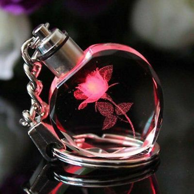 New Fairy Crystal Rose Love Heart LED Light Charm Keychain Square Key Chain Ring