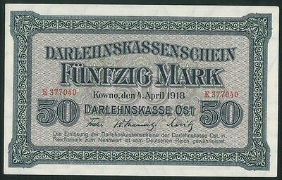 LITHUANIA 50 Mark (1918) banknote UNC Poland Germany OST KOWNO