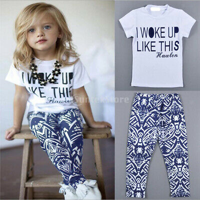 Kids Girls Children Cotton Tee Tops Shirt+Pants Leggings Clothes Outfit Set 2-7Y