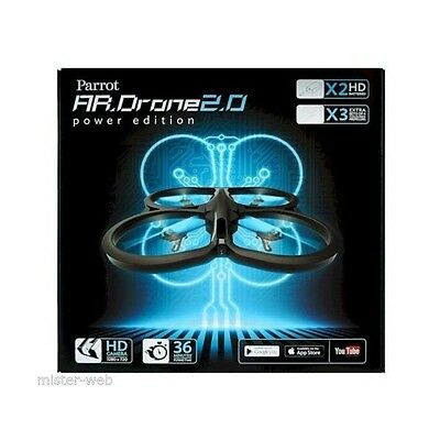 Parrot AR.Drone 2.0 Power Edition, colore Nero (include 3 set di eliche aggiunti