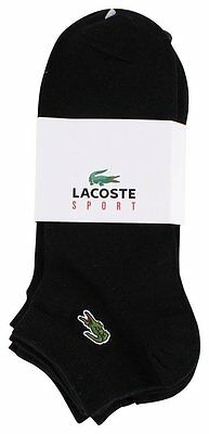 Lacoste Ankle Socks Black Croc Logo Size Us8.5-12 New With Tags