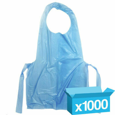 1000 x White or Blue Disposable Polythene Plastic Aprons - Flat Packed