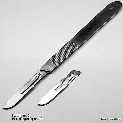 Scalpel Handle Nr 3, 10 blade Nr. 10, knife holder medical dental podiatry NATRA
