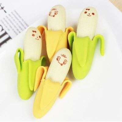 4 X Novelty Cute Banana shape Erasers Rubber Party Bag Fillers